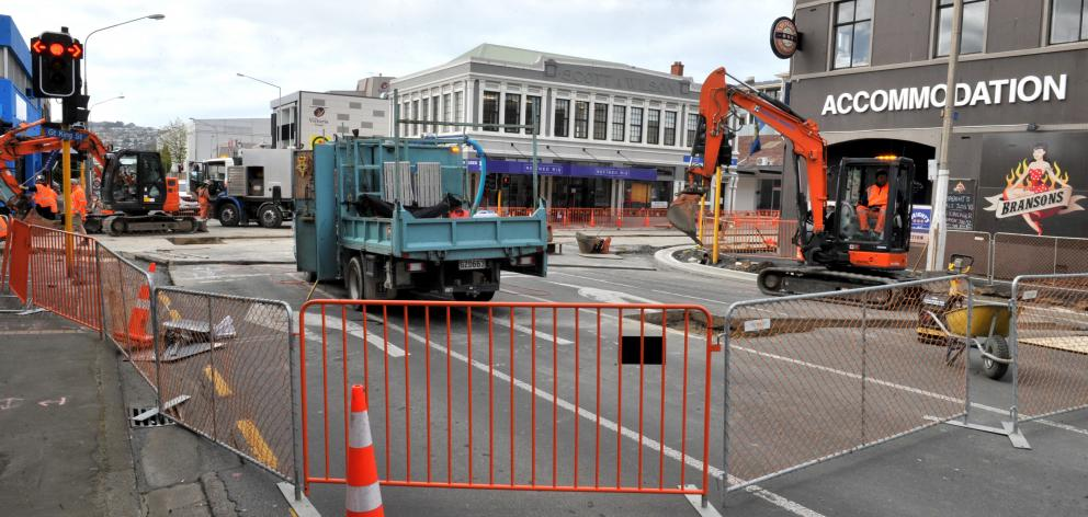 The intersection of Great King and St Andrews streets remains closed by bus hub work. Photo: Gregor Richardson
