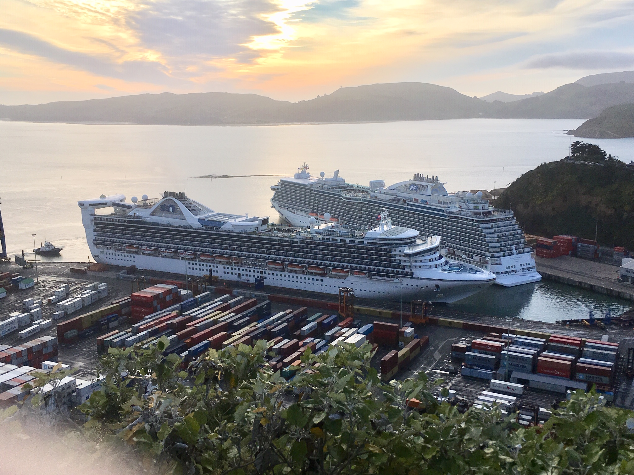 Cruise ships Majestic Princess and Golden Princess in Port Chalmers. Photo Stephen Jaquiery