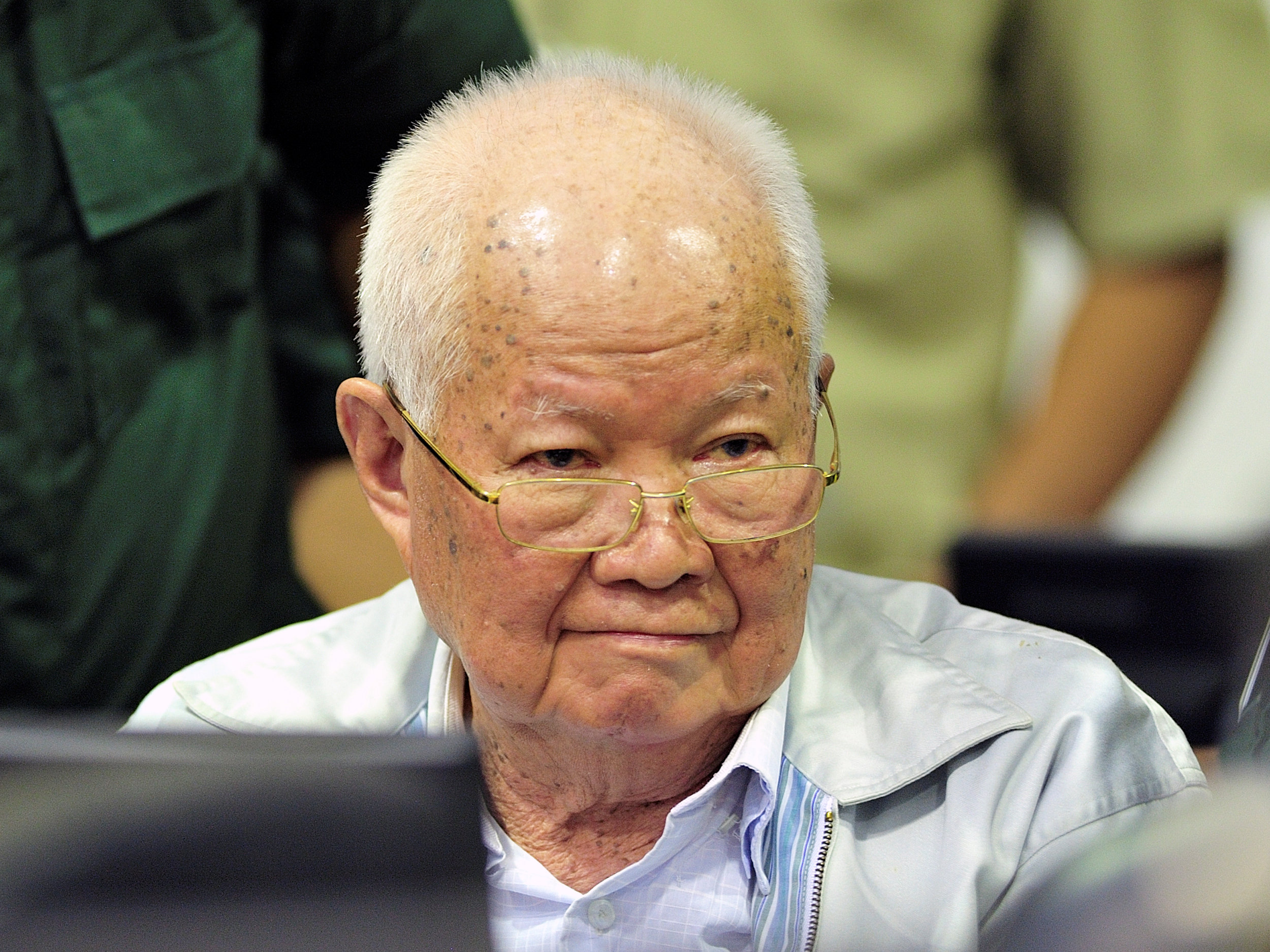 Former Khmer Rouge head of state Khieu Samphan inside the courtroom