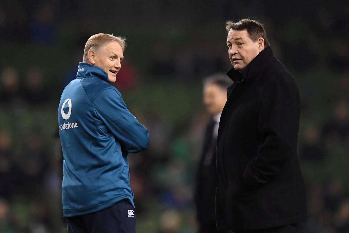 All Blacks coach Steve Hansen (R) and Ireland coach Joe Schmidt before their teams' match in...