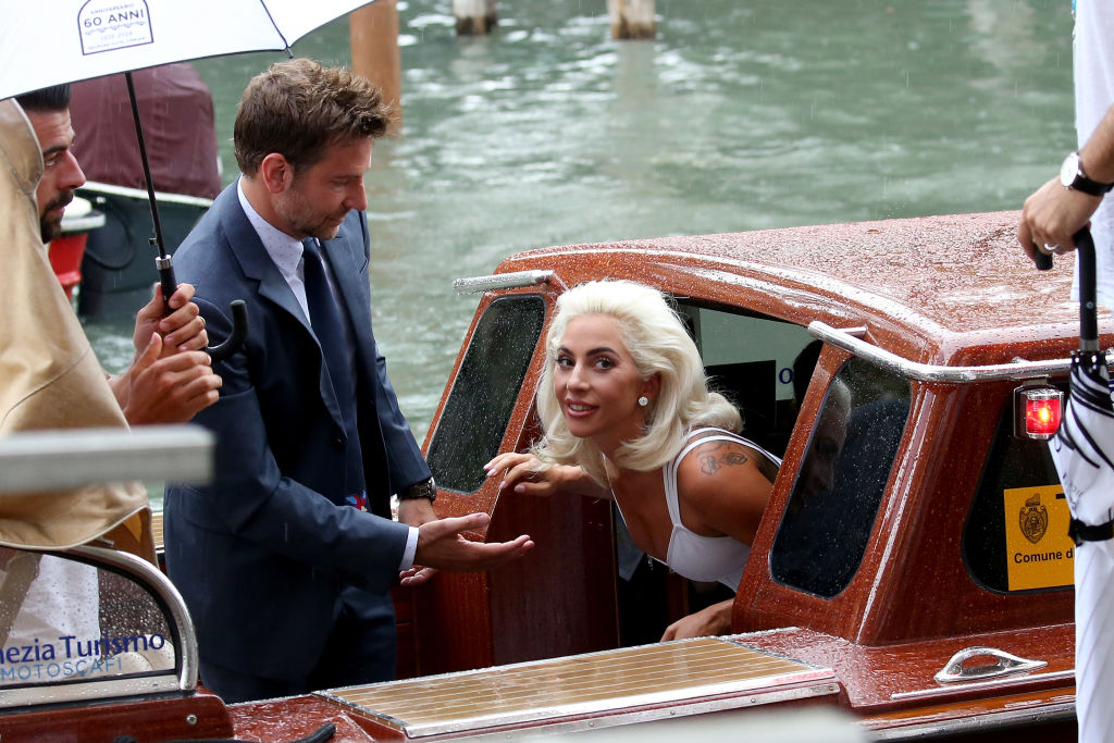 The stars of A Star is Born, Lady Gaga and Bradley Cooper, arrive by water taxi at the 75th...