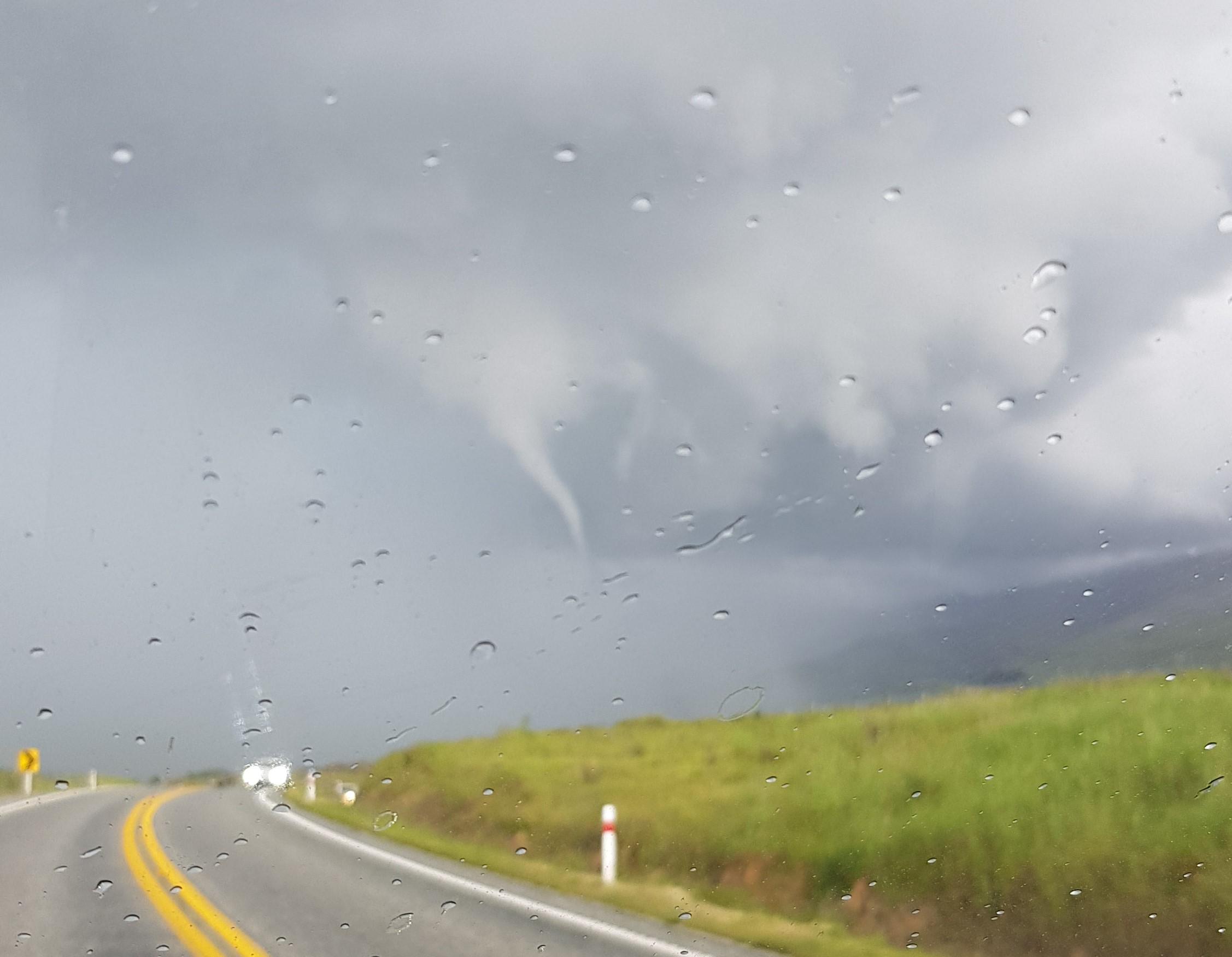 A tornado begins to form in Fruitlands near Roxburgh. Photo: Bradley Robertson