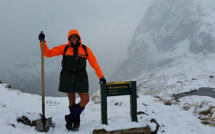 DOC supervisor Pania Dalley in Fiordland National Park. Photo: Supplied via RNZ