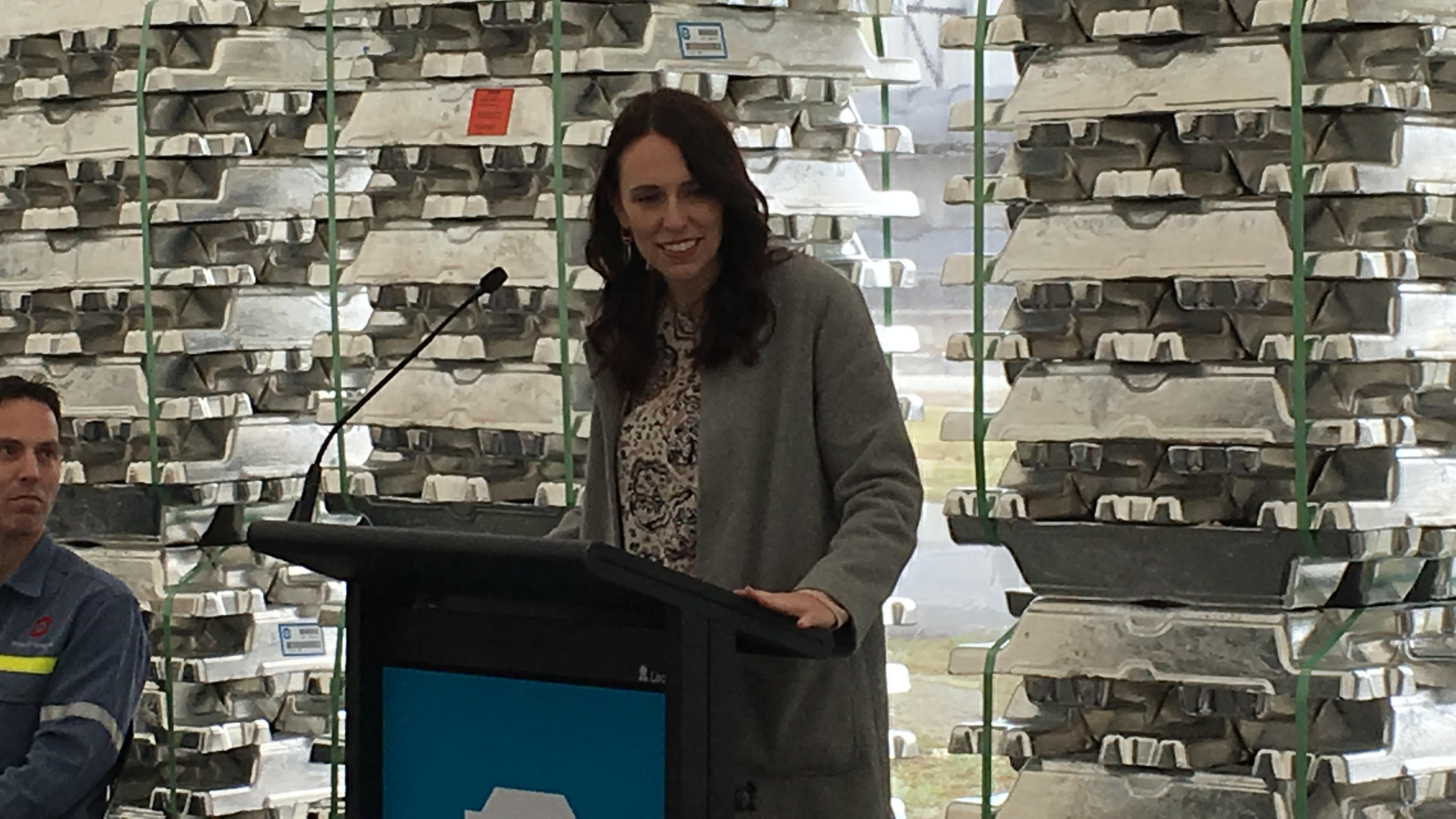 Prime Minister Jacinda Ardern speaks to New Zealand Aluminium Smelter staff this morning. Photo:...