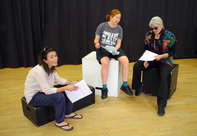 Becky Plunkett, Jennie Salter and Gilly Pugh run through the script. Photos: Supplied