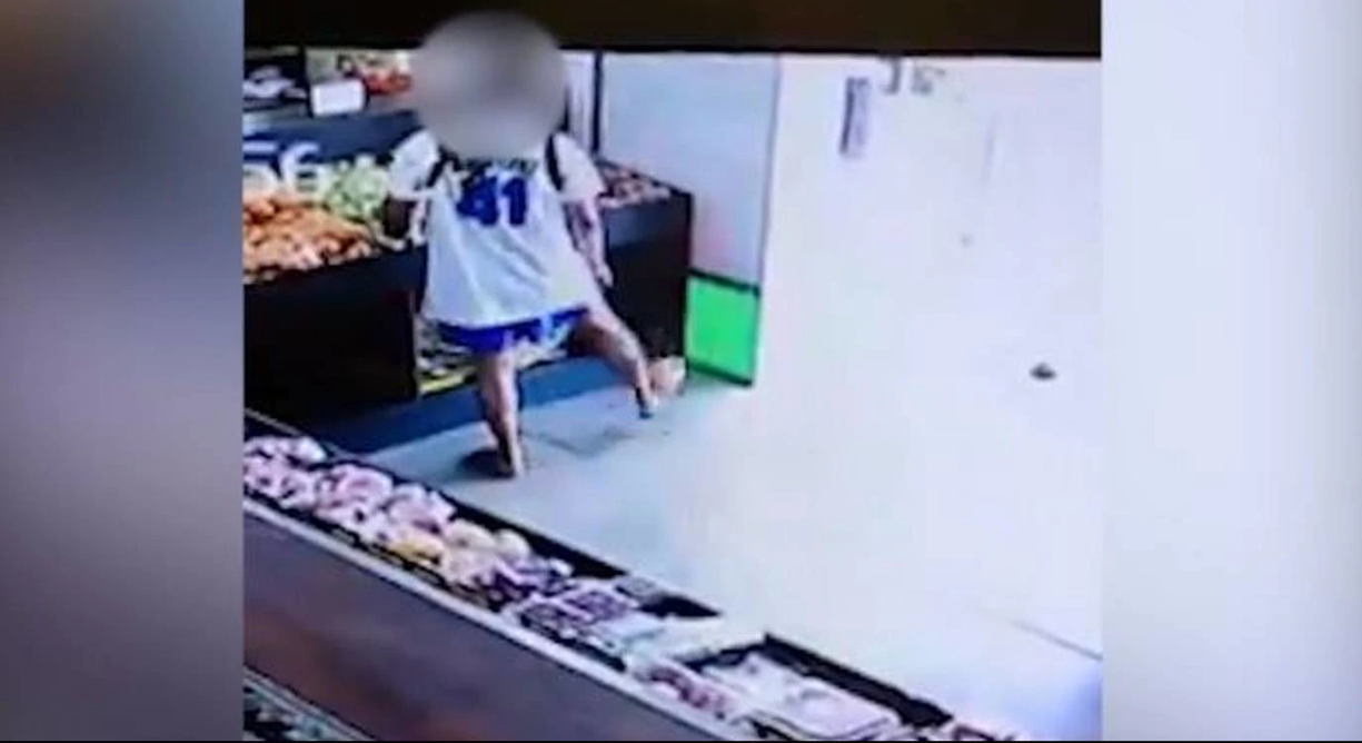The thief was captured on CCTV entering the store and drop-kicking the fruit outside the door. Photo: Field Fresh