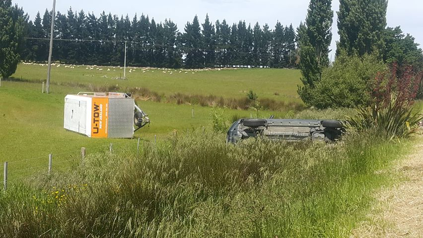 A car rolled in SH1 near Waihola this morning. Photo: George Block