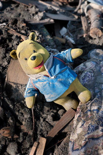 A Winnie the Poo stuffed animal in post-tsunami rubble of Kamaishi. Photo: Getty Images