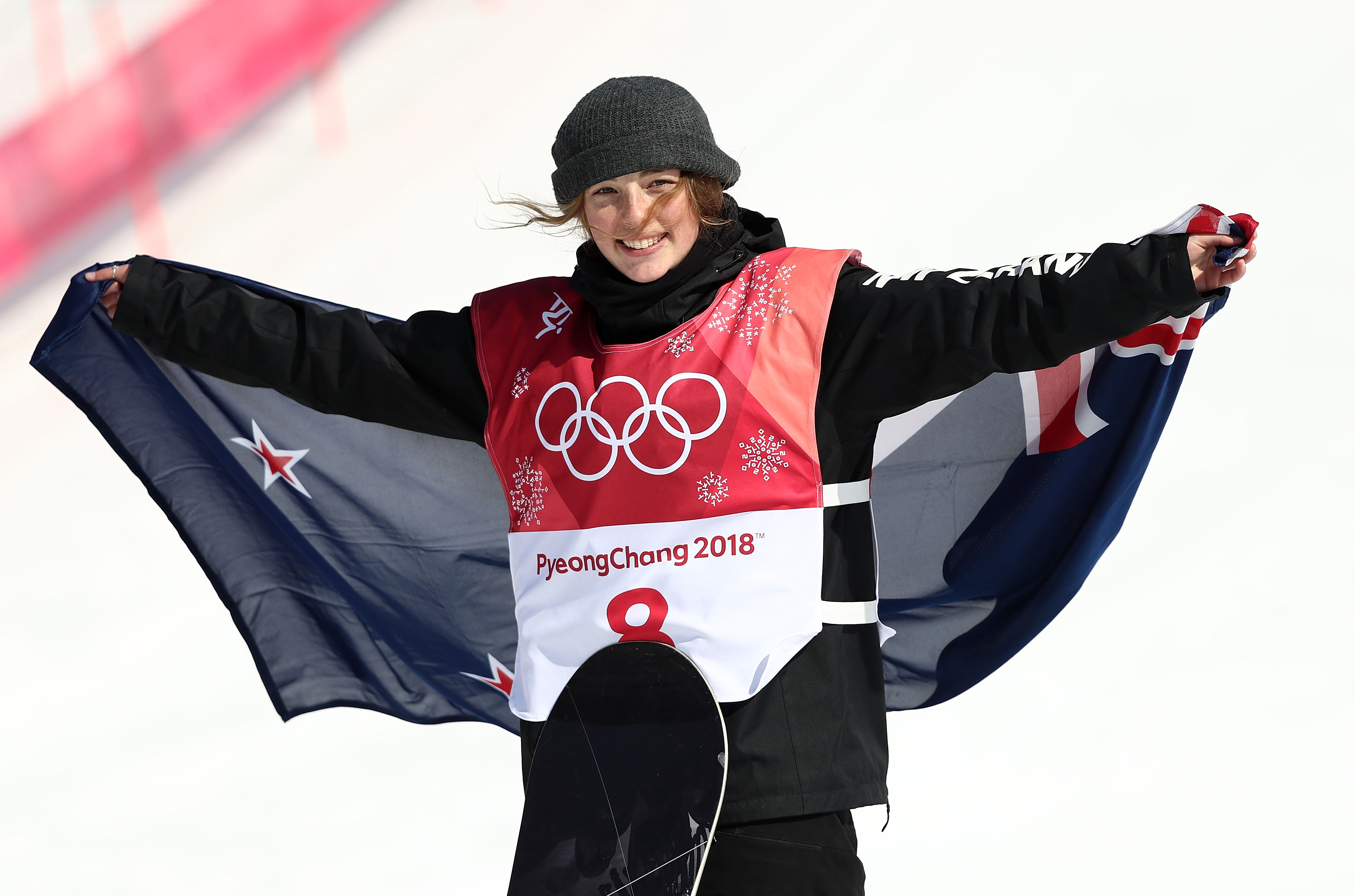 Wanaka's Zoi Sadowski Synnott celebrates during the victory ceremony after claiming bronze medal...