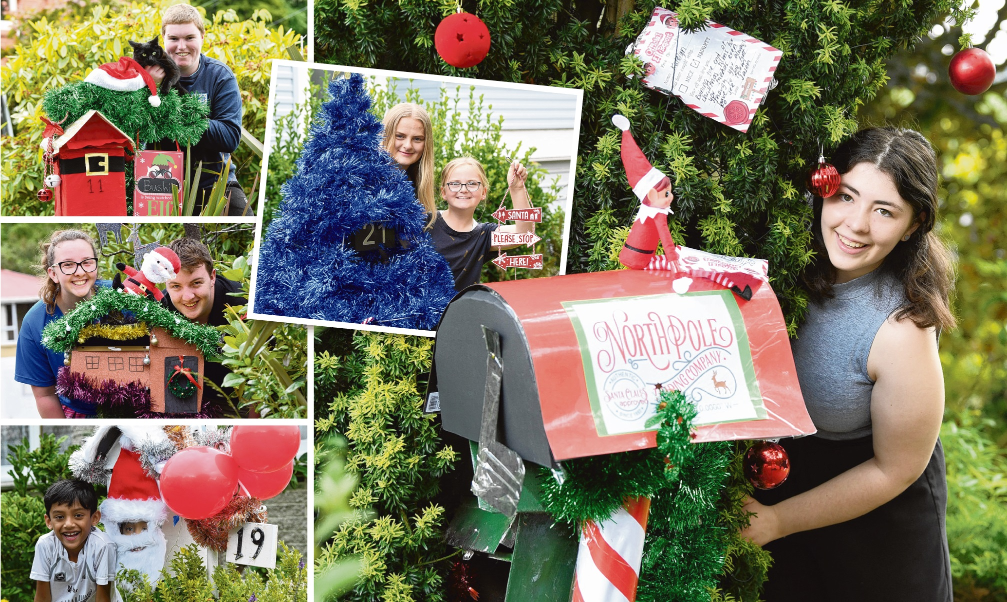 Jason St residents and their decorated letterboxes. Main photo: Mikayla Cameron (20); clockwise from bottom: Dan Mathew (7), Arwen (16) and Angus Weir (19), Keenan West (17) and Blue the cat, and Amelia (14) and Katelyn Coster (12). Photos: Stephen Jaquie