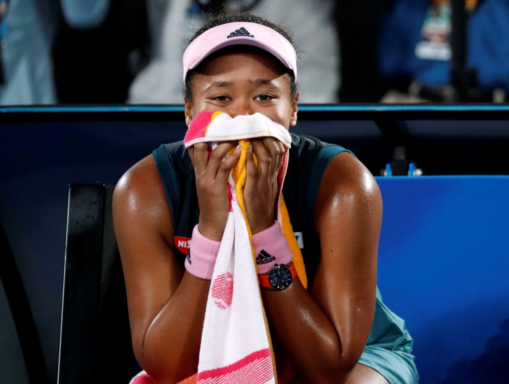 Naomi Osaka reacts after her victory. Photo: Reuters