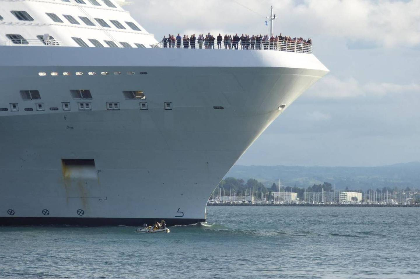 Cruise ship passengers watched the incident unfold. Photo: Aaron Randell