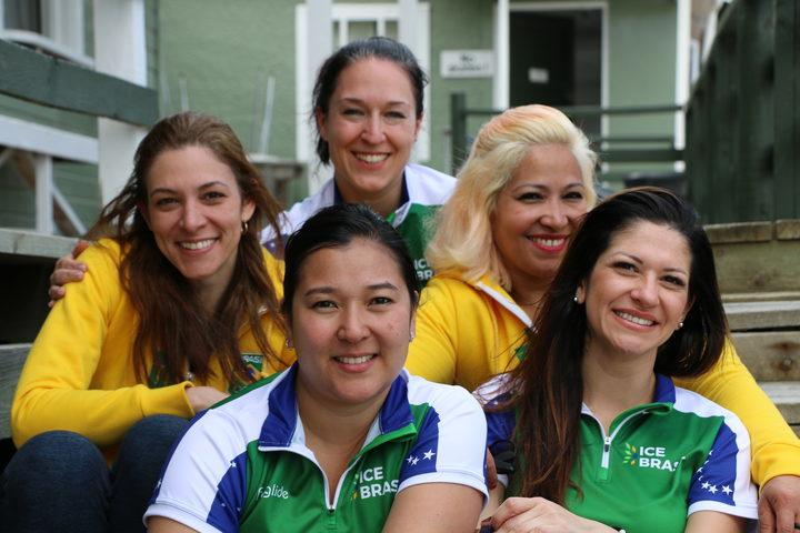 Brazil's women's team (L-R: Luciana Barrella, Anne Shibuya, coach Barbara Zbeetnoff, Alessandra...