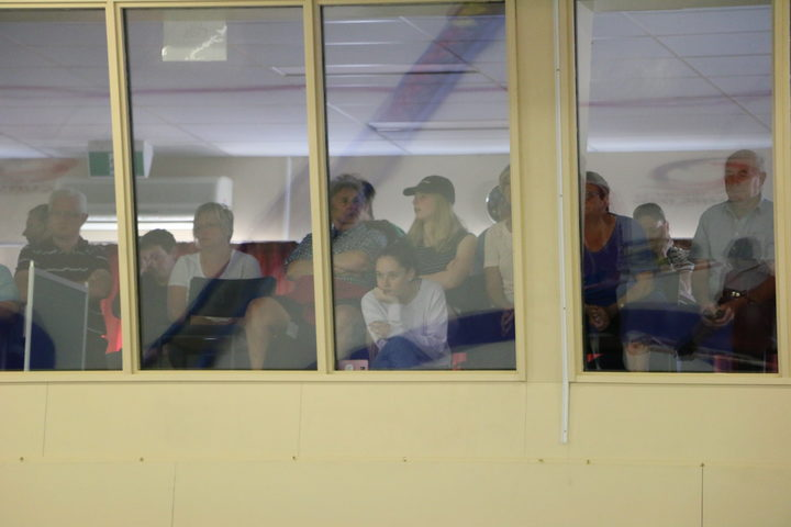 A crowd of Naseby locals watch from the spectators' lounge Photo: RNZ