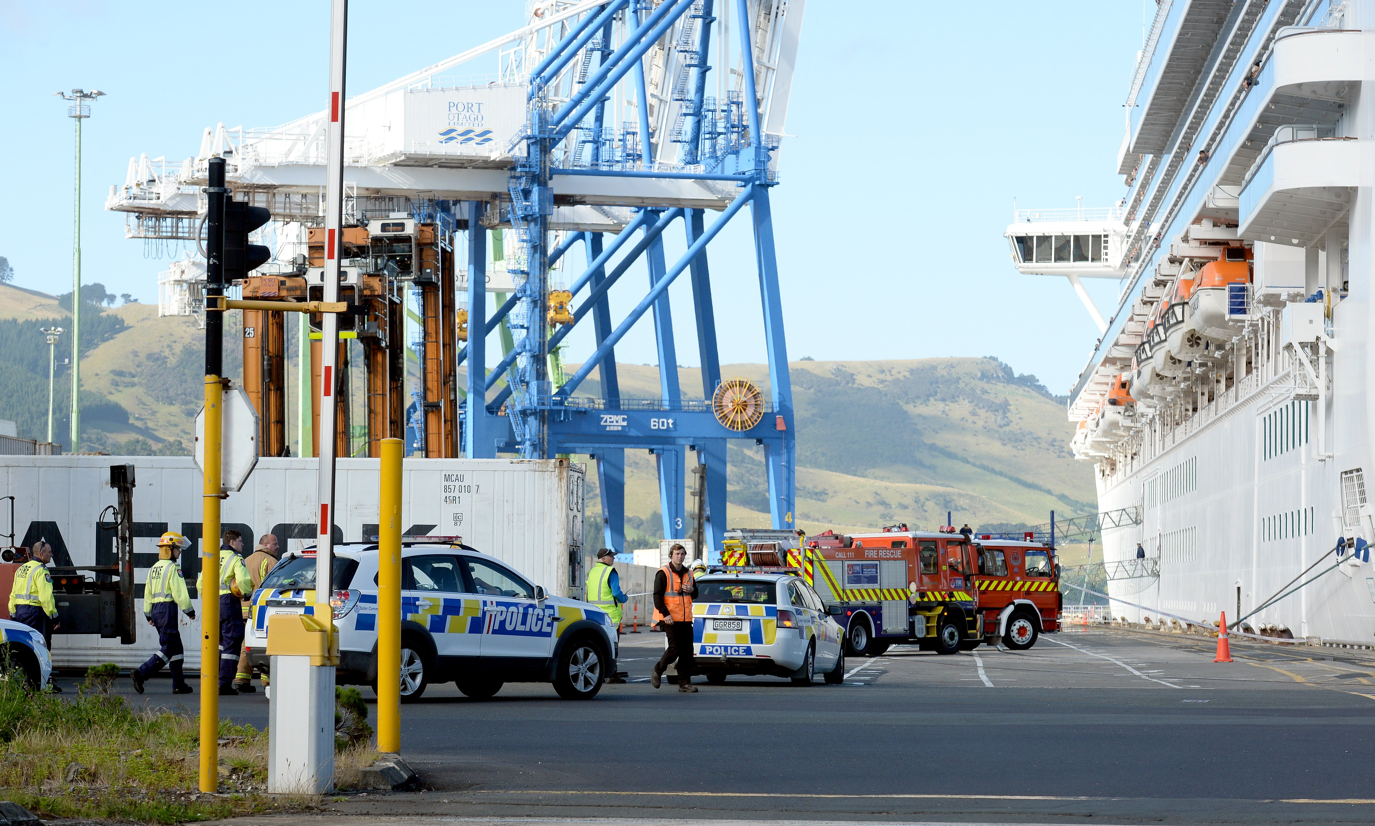 Police and fire services were called to the Emerald Princess in Port Chalmers, where an explosion...