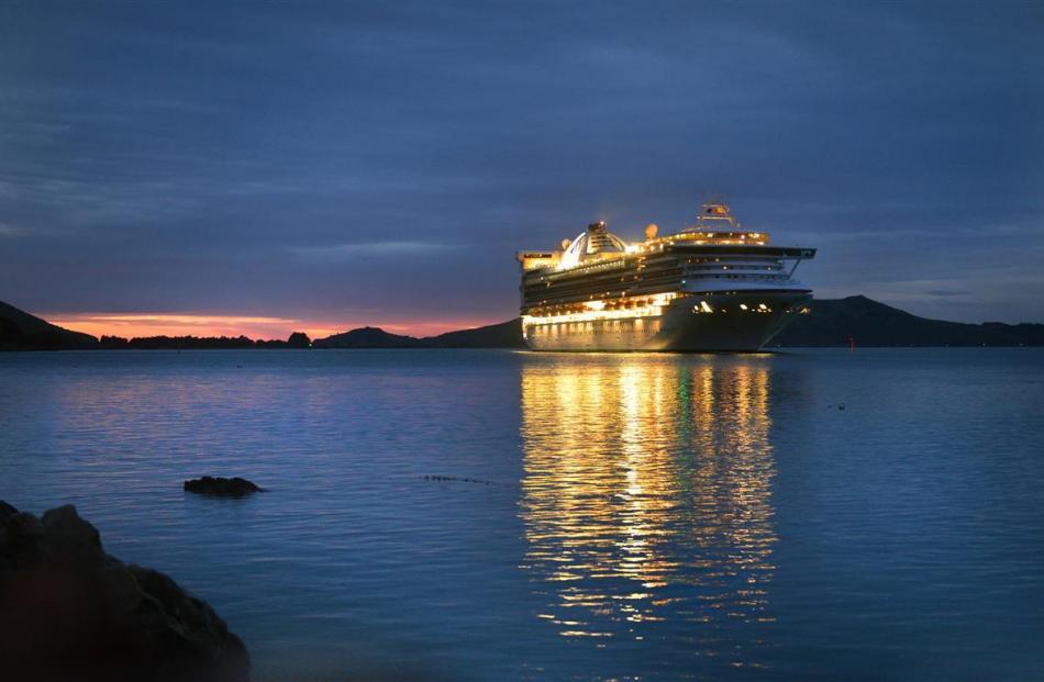 Golden Princess slips into Otago Harbour during an earlier visit to Dunedin. Photo: ODT