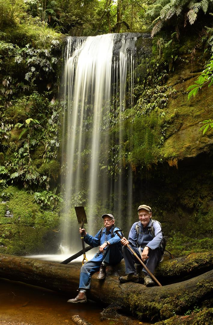 Catlins crib-owners Wayne Allen (left), and Peter Hill, who have been picking away at a ``forgotten'' waterfall trail in the Catlins for several years. Photo: Stephen Jaquiery