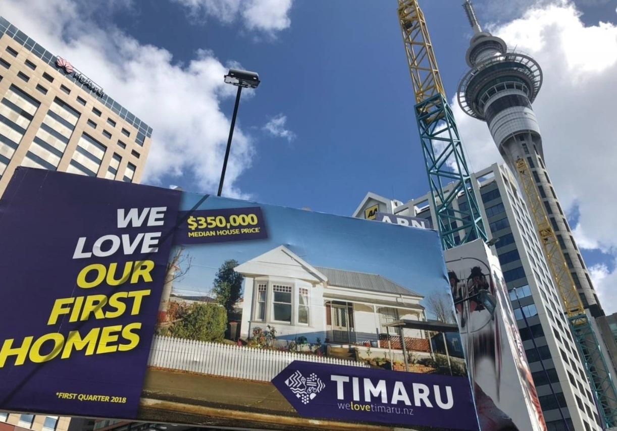 The new billboard campaign promotes cheap Timaru houses to Aucklanders. Photo: NZ Herald