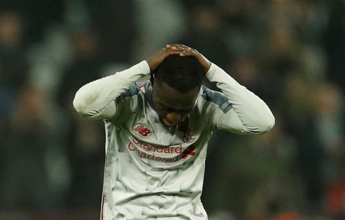 Liverpool's Naby Keita reacts after the match. Photo: Reuters