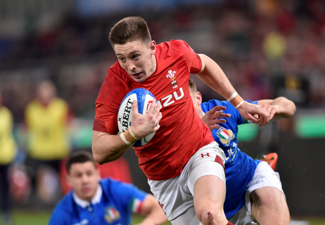 Josh Adams runs into score for Wales against Italy. Photo: Reuters
