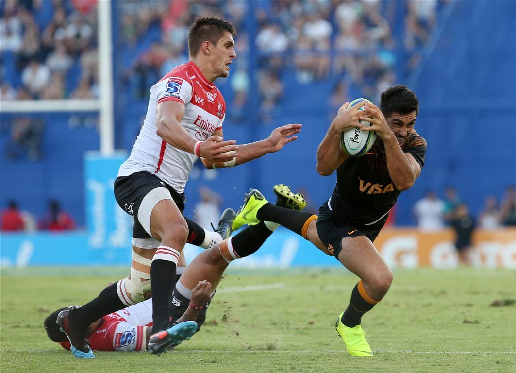 Jaguares captain Jeronimo de la Fuente falls with the ball against the Lions. Photo: Reuters