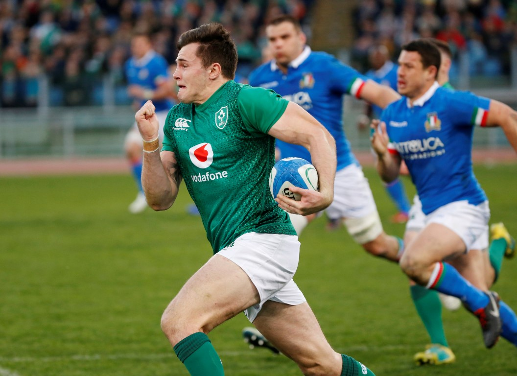 Jacob Stockdale runs the ball up for Ireland. Photo: Reuters