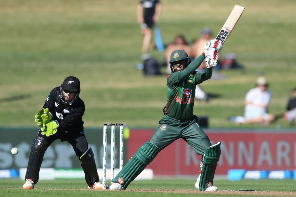 Mohammad Mithun hits out on his way to a top score of 62 for Bangladesh against New Zealand....