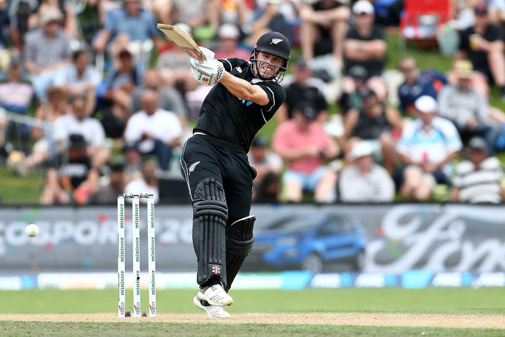 Henry Nicholls hits out on his way to 64 against Bangladesh in Dunedin. Photo: Getty Images