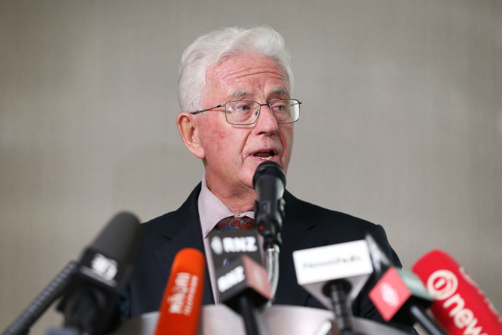 Tax Working Group Chairman Sir Michael Cullen speaks during the announcement at Treasury in...