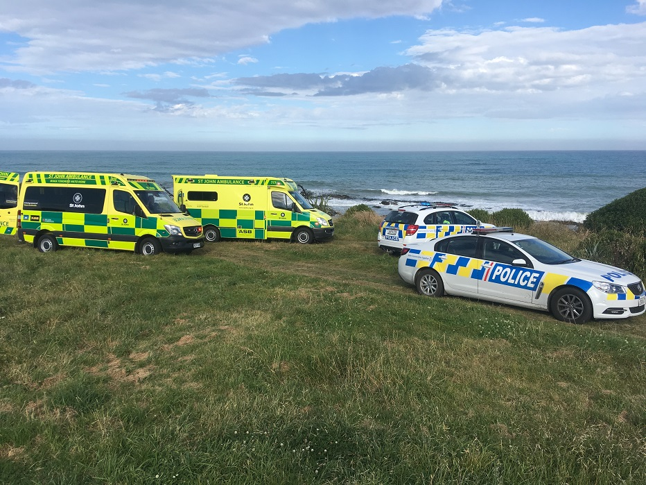 Emergency services at the scene on Tuesday evening. Photo: Hamish MacLean