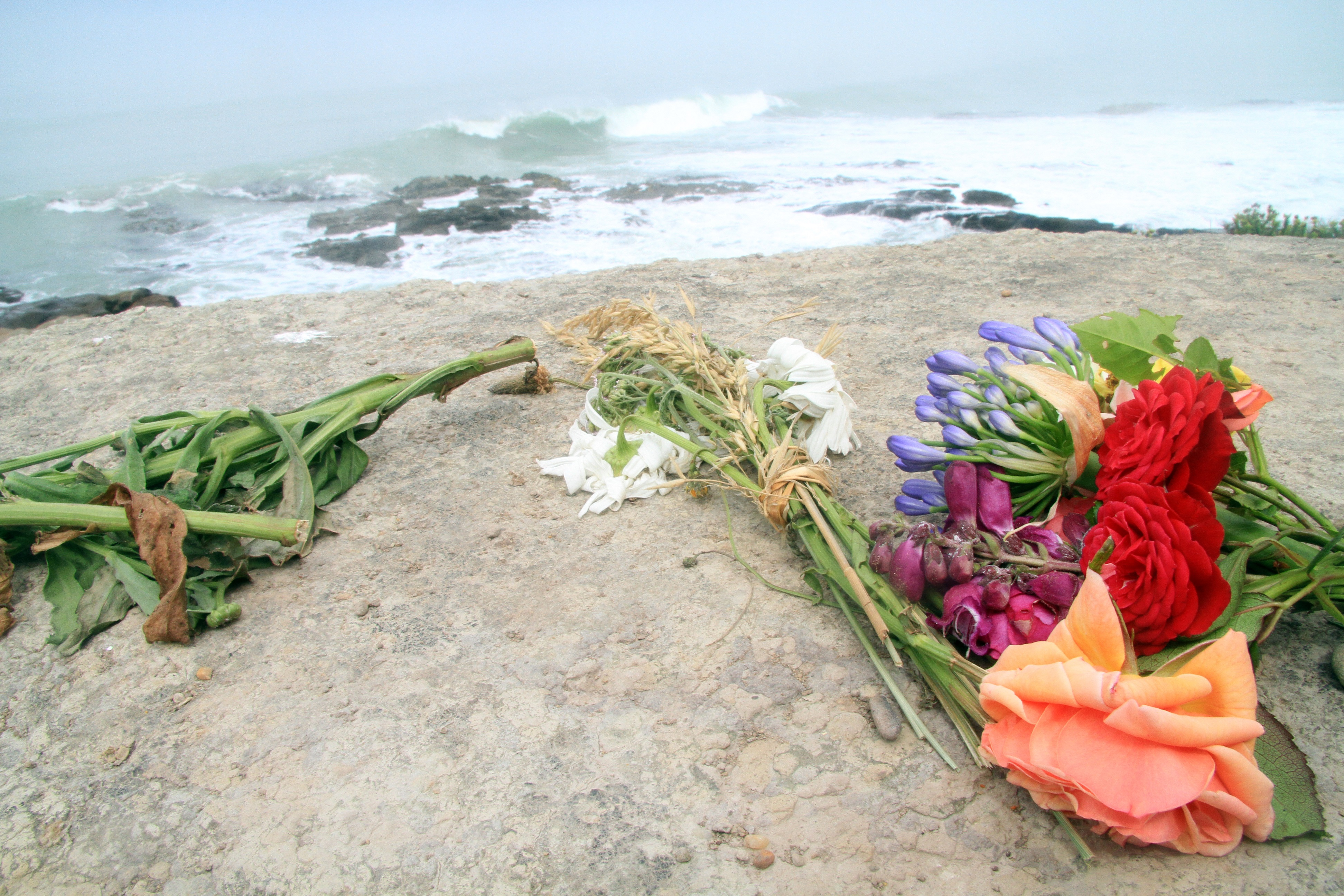 Flowers have been left where brothers died collecting seafood at Kakanui on Tuesday evening....