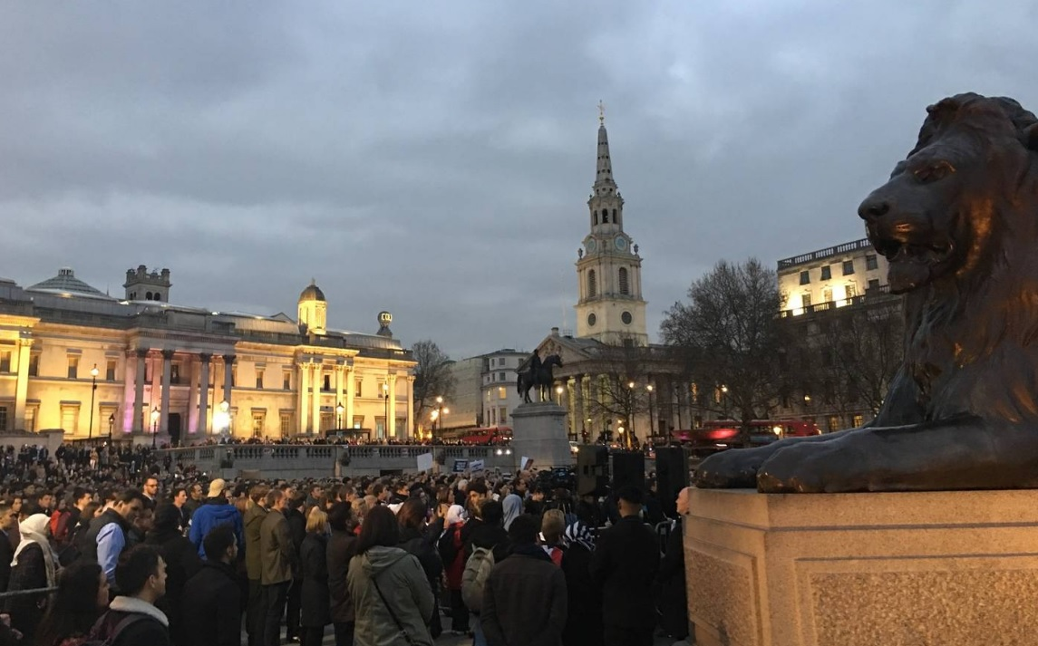 A vigil in London's Trafalgar Square to honour those who were killed in the Christchurch mosque...