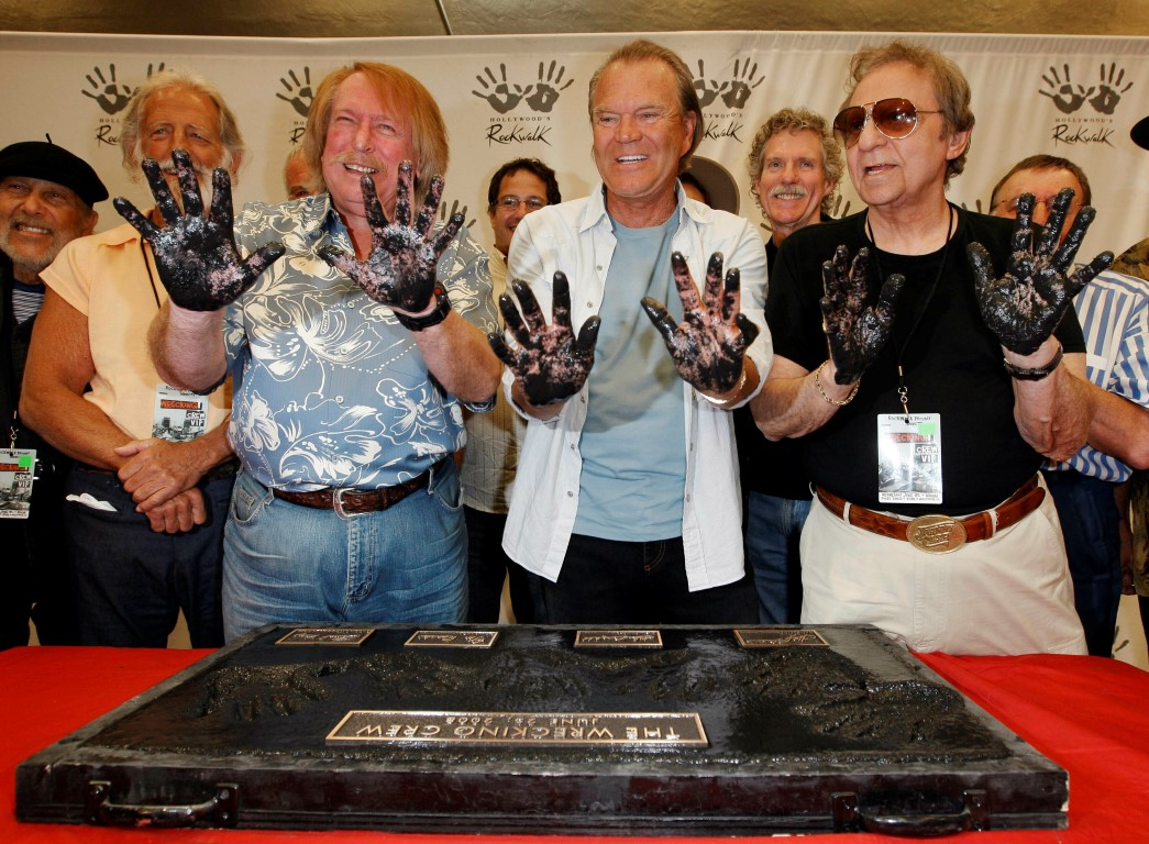 Representing The Wrecking Crew, musicians (from left) Don Randi, Glen Campbell and Hal Blaine...