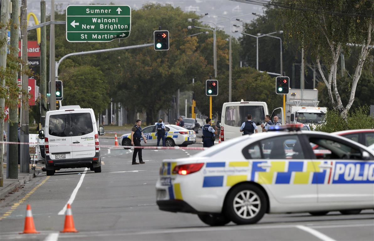 Police block a road near one of the mosques on the day of the shootings in Christchurch. Photo: AP