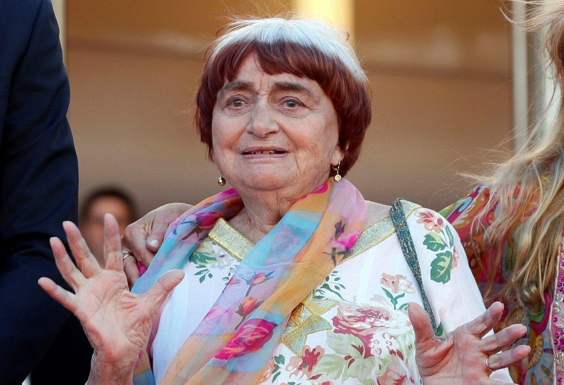 """Agnes Varda appears at the screening of the film """"Visages, Villages"""" at the Cannes film festival..."""