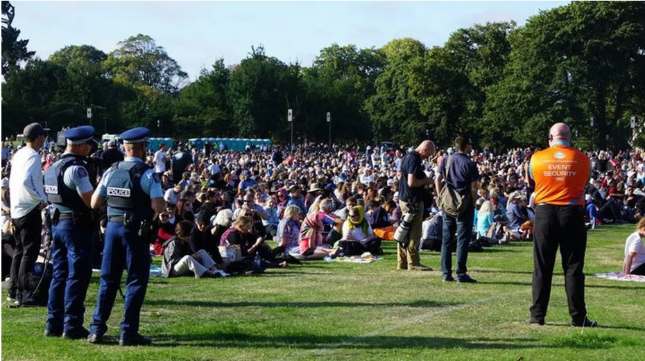 Thousands of people have turned out in Hagley Park in Christchurch this evening. Photo: RNZ