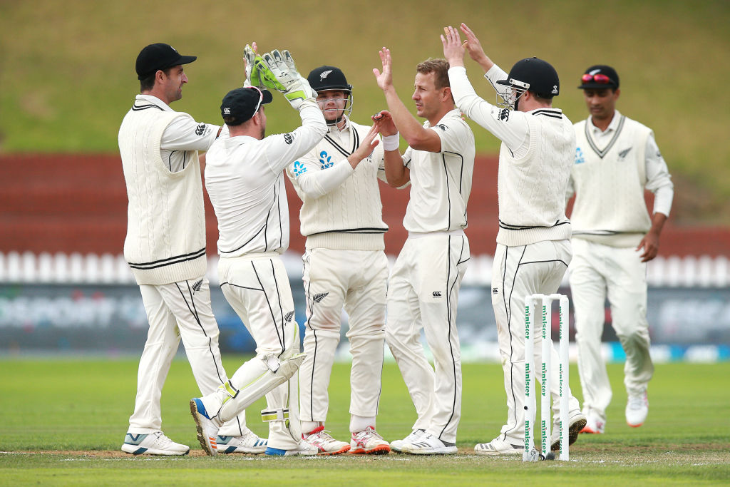 Neil Wagner celebrates with teammates after taking the wicket of Bangladesh's Taijul Islam. Photo...