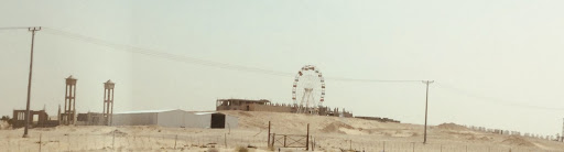 The Ferris wheel which marks the halfway point on the trip from Saudi Arabia to Bahrain. Photo: Deborah Heron