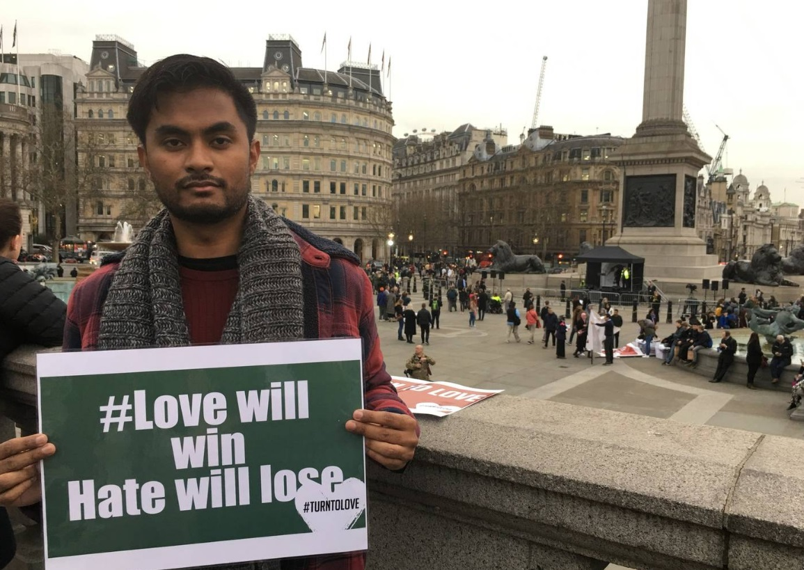 Londoner Qayum Mannan was one of those attending the vigil in Trafalgar Square. Photo: NZ Herald