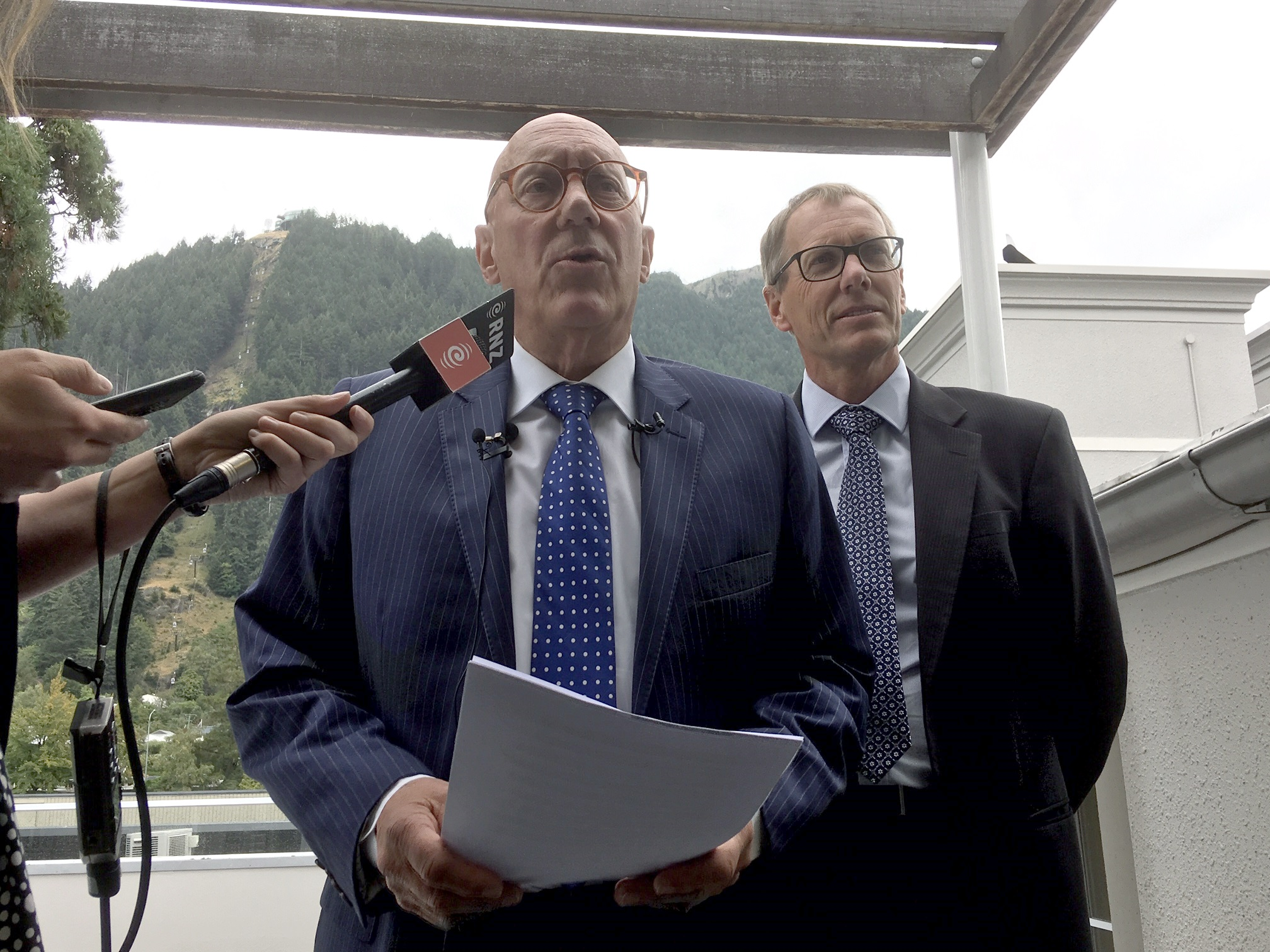 Queenstown Lakes District Council mayor Jim Boult (left) and chief executive Mike Theelen at...