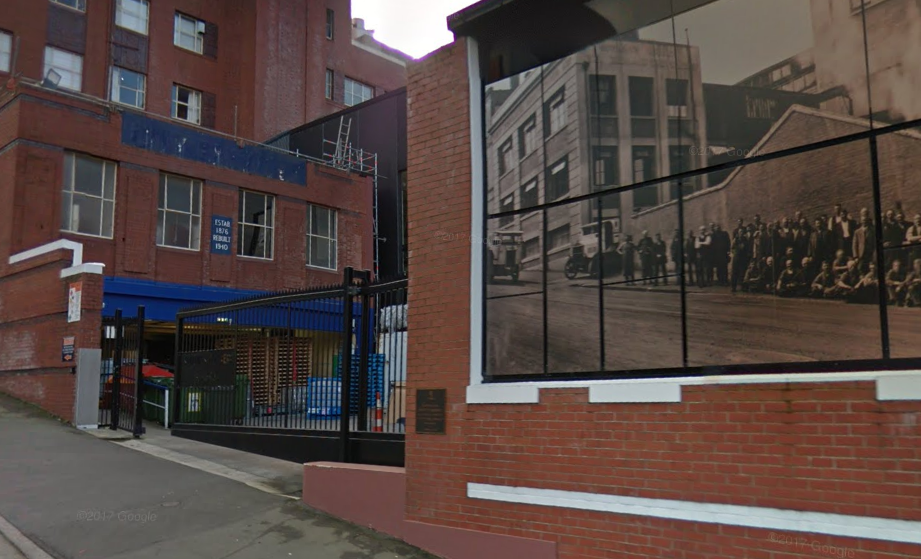 Police say the group scaled this gate at the brewery in Rattray St. Photo: Google Maps