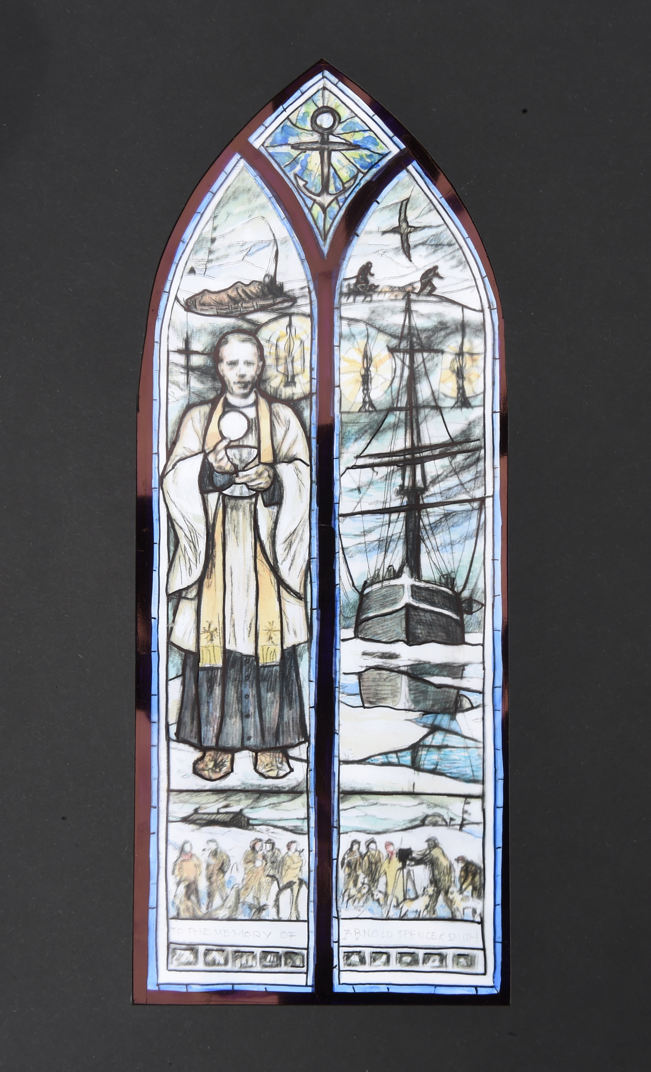 A rendering by Ms Packer of what the stained-glass window will look like.