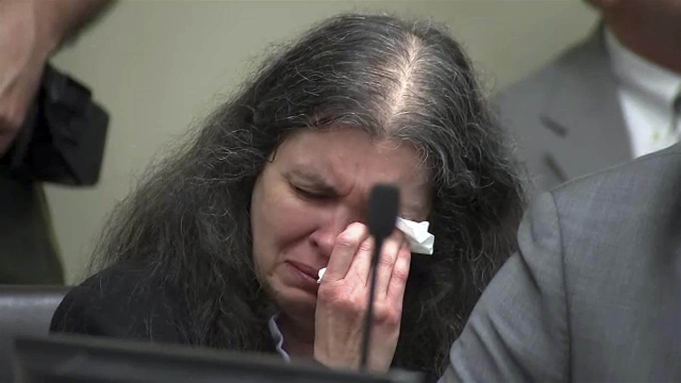 Louise Turpin reacts as one of her children speaks during the sentencing hearing. Photo: AP