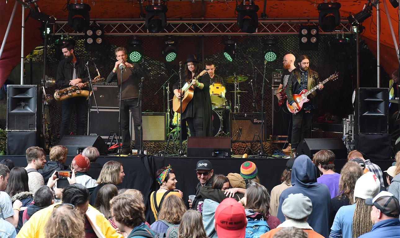 The crowd welcomes Jo Little and the Jared Smith Band on to the stage at Feastock in Dalmore this...