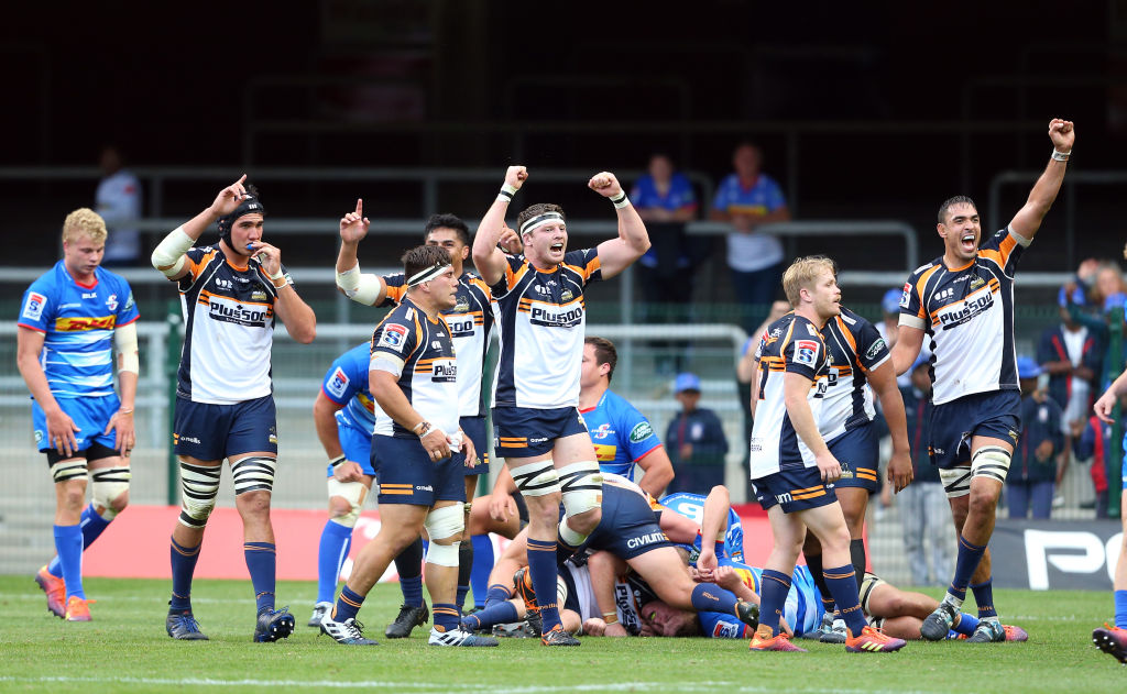 Brumbies players celebrate their victory over the Stormers. Photo: Getty