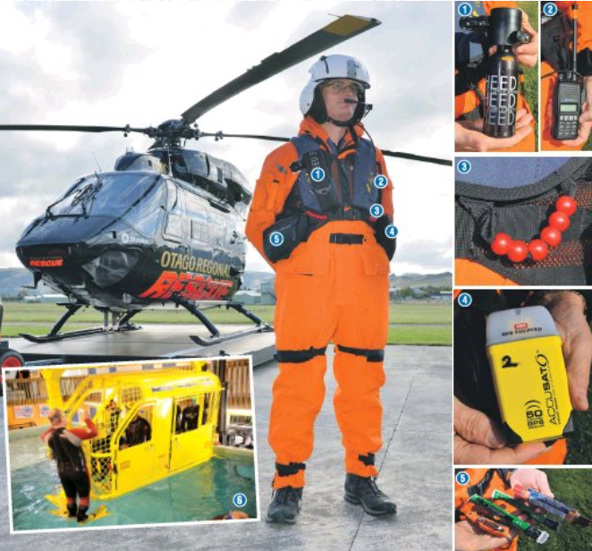 HeliOtago flight paramedic Anthony Hoets wears an immersion suit and equipment similar to that...