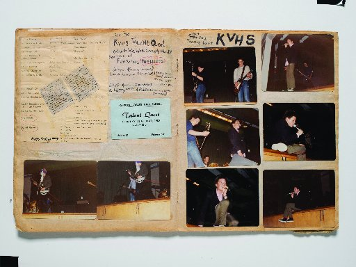 Shayne Carter's scrapbook records his outing in the 1980 Kaikorai Valley High School talent quest...