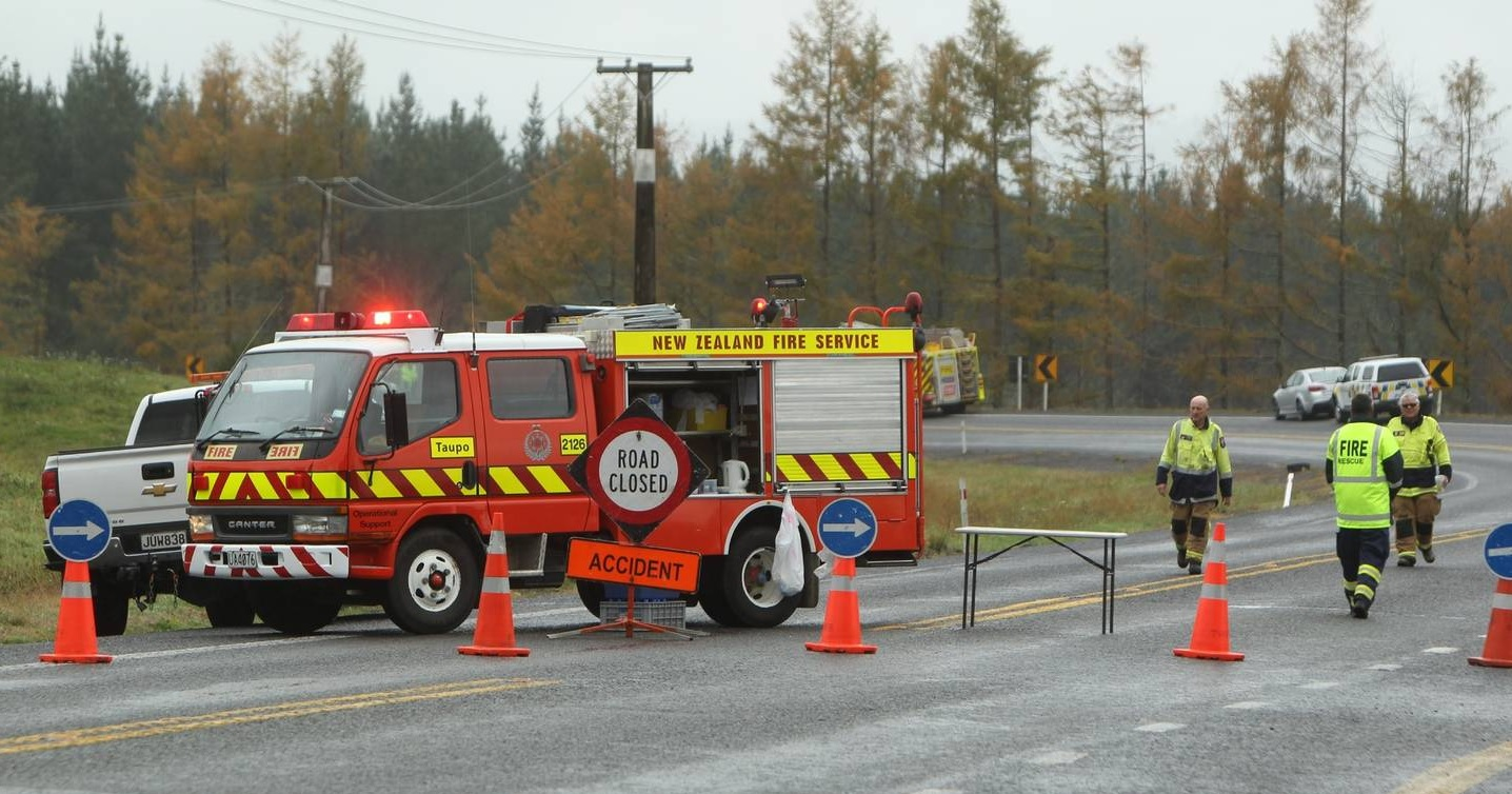 Emergency services at the crash scene, on SH1 north of Taupō. Photo: NZ Herald