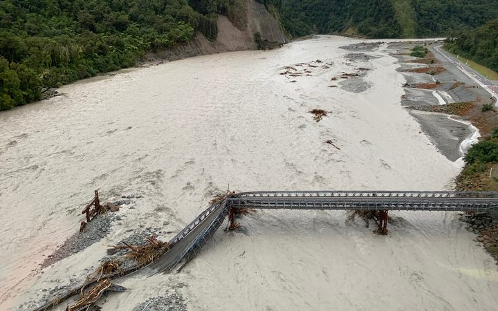 The State Highway 6 bridge over the Waiho River. Photo: Wayne Costello/Doc