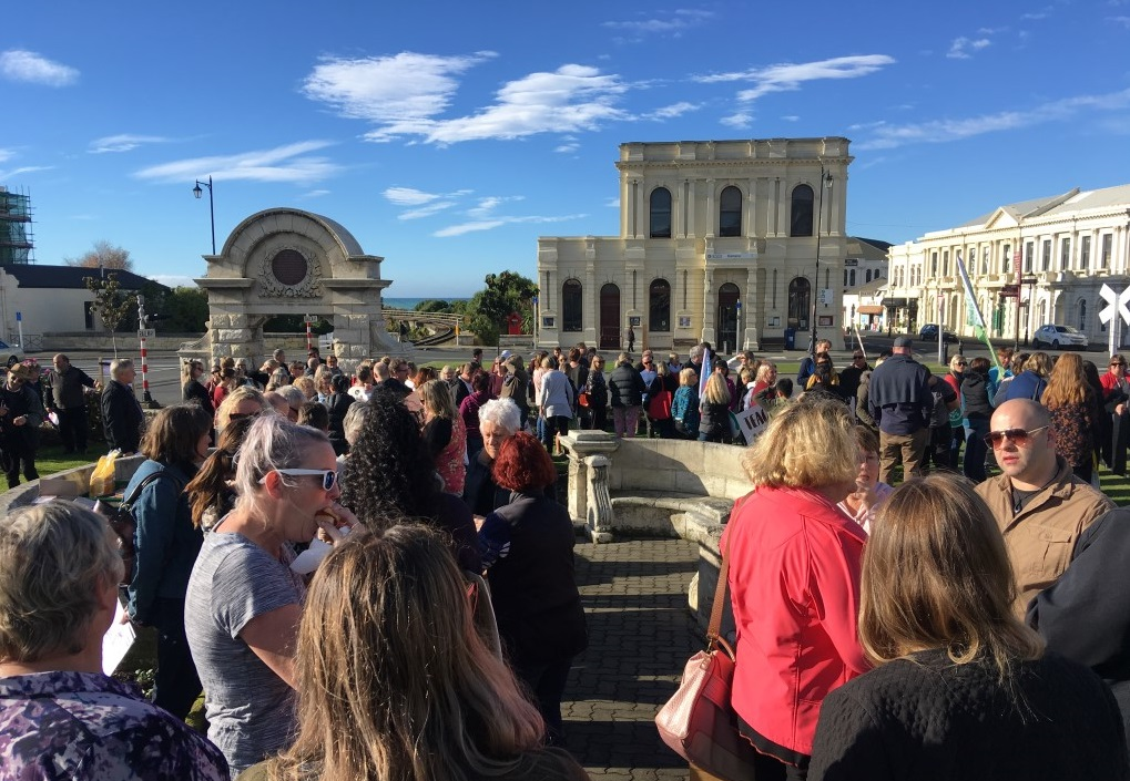 PPTA and NZEI members gather in Oamaru today. Photo: Hamish MacLean